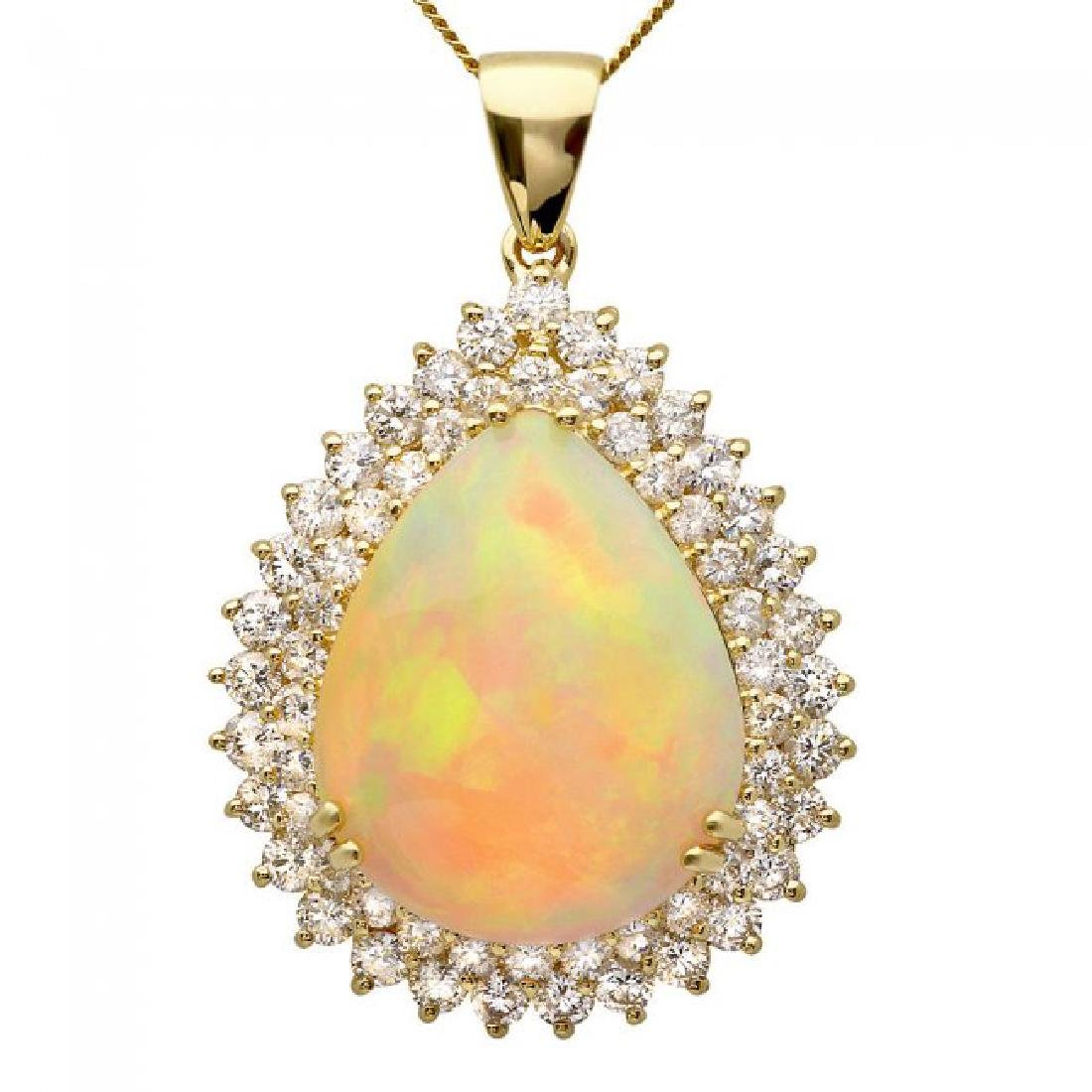 14k Gold 16.00ct Opal 3.50ct Diamond Pendant - 2