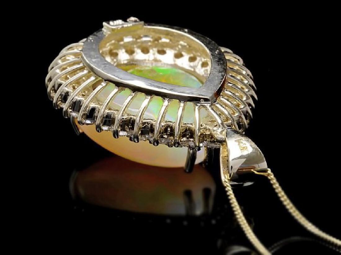 14k Gold 16.00ct Opal 3.50ct Diamond Pendant - 3