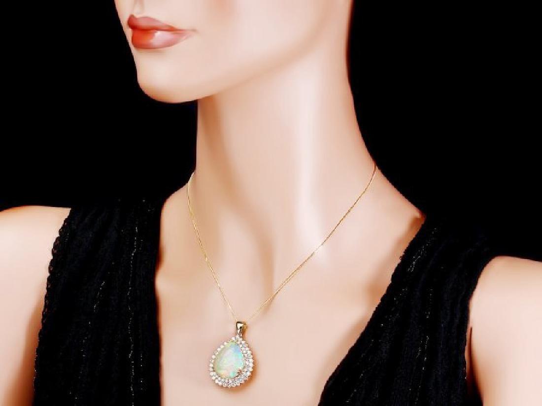 14k Gold 16.00ct Opal 3.50ct Diamond Pendant - 4