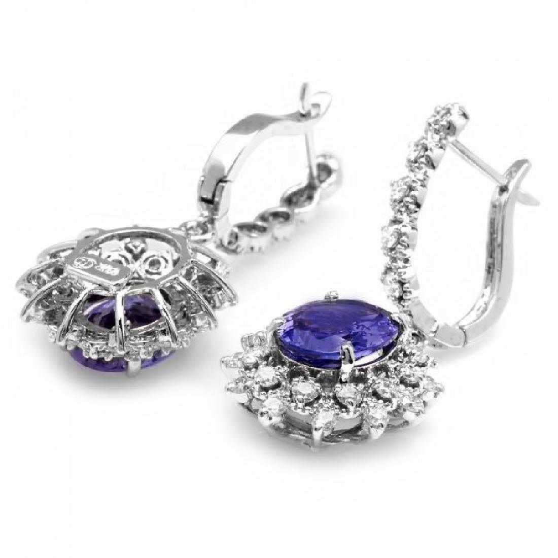 14k Gold 5ct Tanzanite 1.60ct Diamond Earrings - 2
