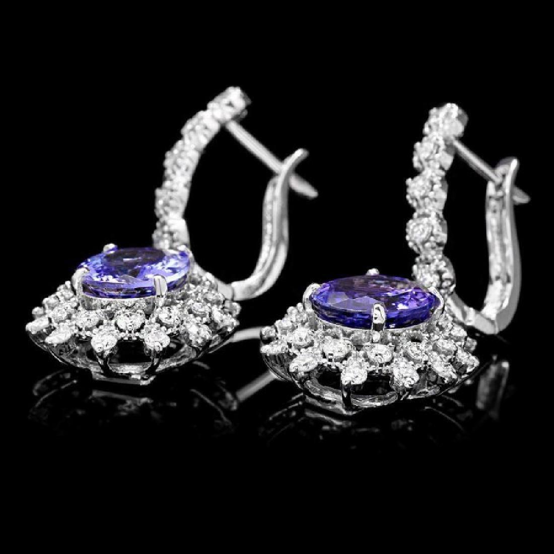 14k Gold 5ct Tanzanite 1.60ct Diamond Earrings - 3