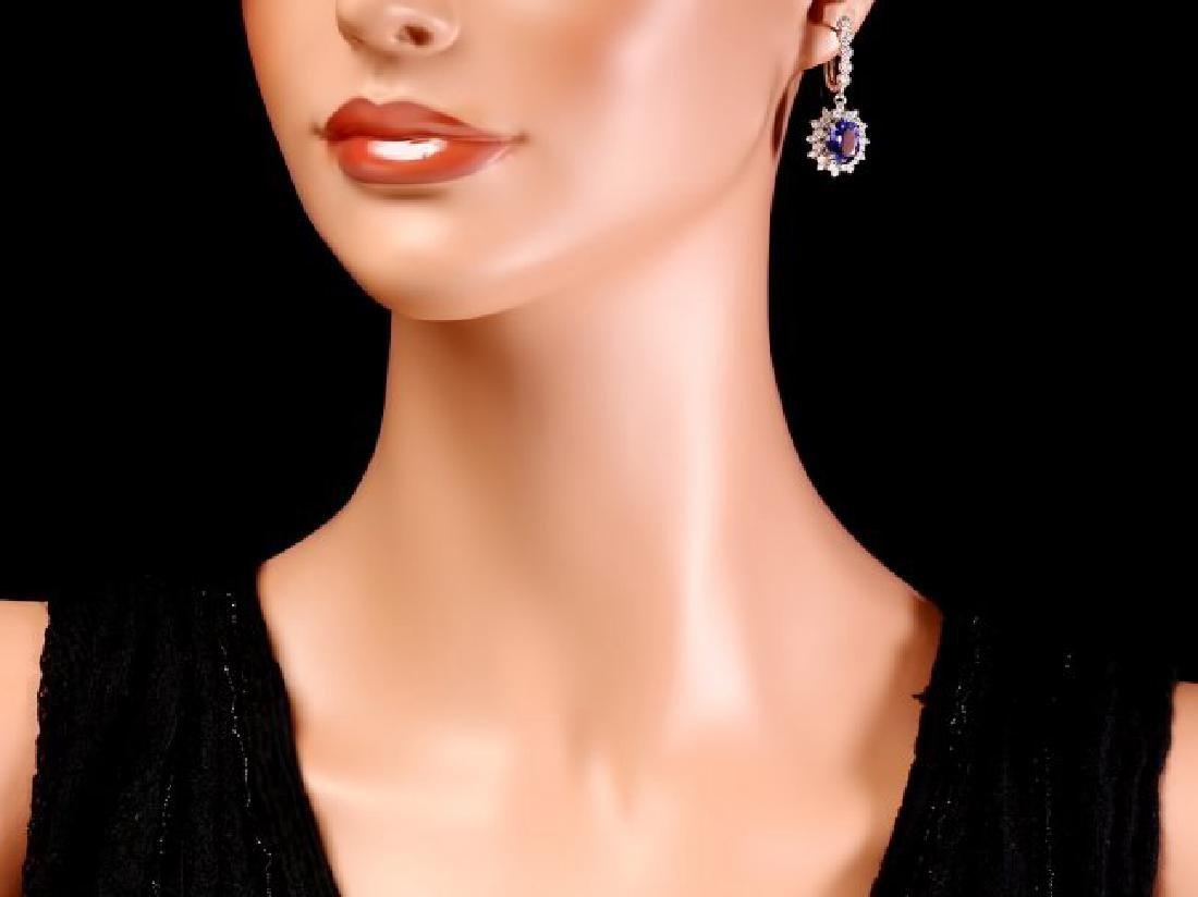 14k Gold 5ct Tanzanite 1.60ct Diamond Earrings - 4
