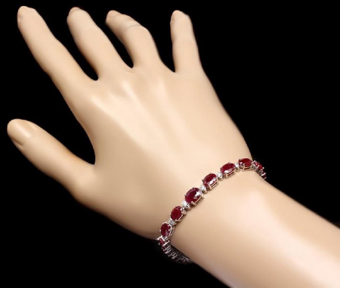 14k Gold 16.00ct Ruby 0.70ct Diamond Bracelet - 4
