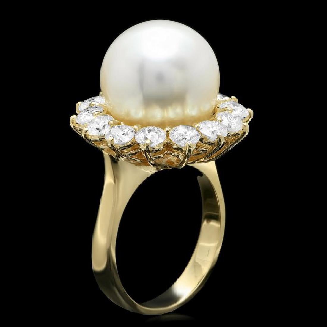 14k Gold 13 X 13mm Pearl 2.00ct Diamond Ring - 2
