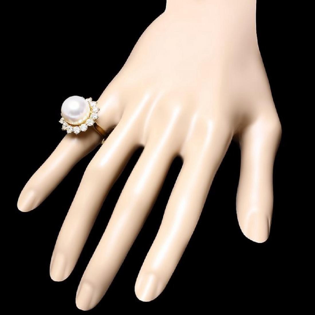 14k Gold 13 X 13mm Pearl 2.00ct Diamond Ring - 3