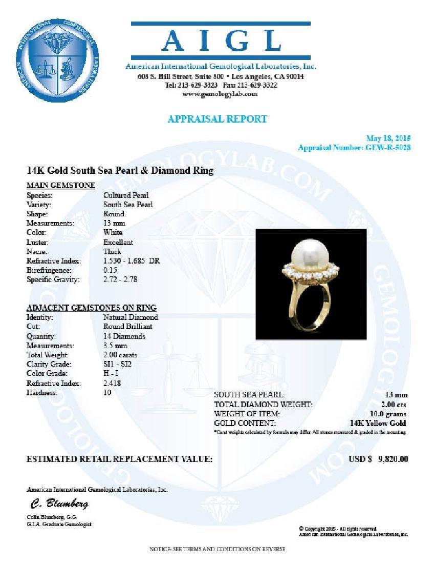 14k Gold 13 X 13mm Pearl 2.00ct Diamond Ring - 4