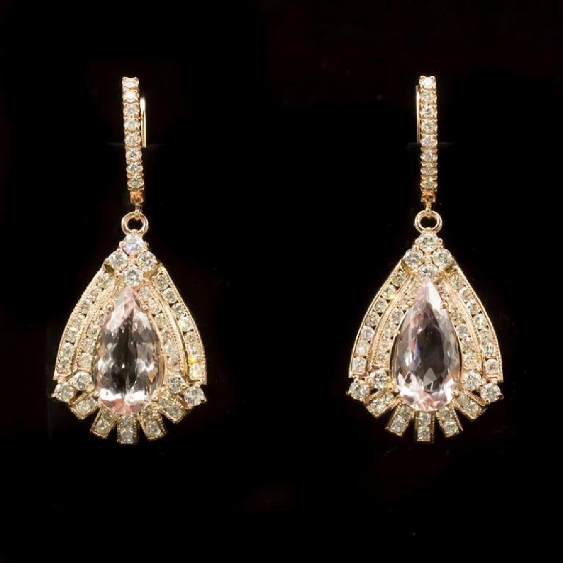 14K Gold 13.6ct Morganite 6.73ct Diamond Earrings