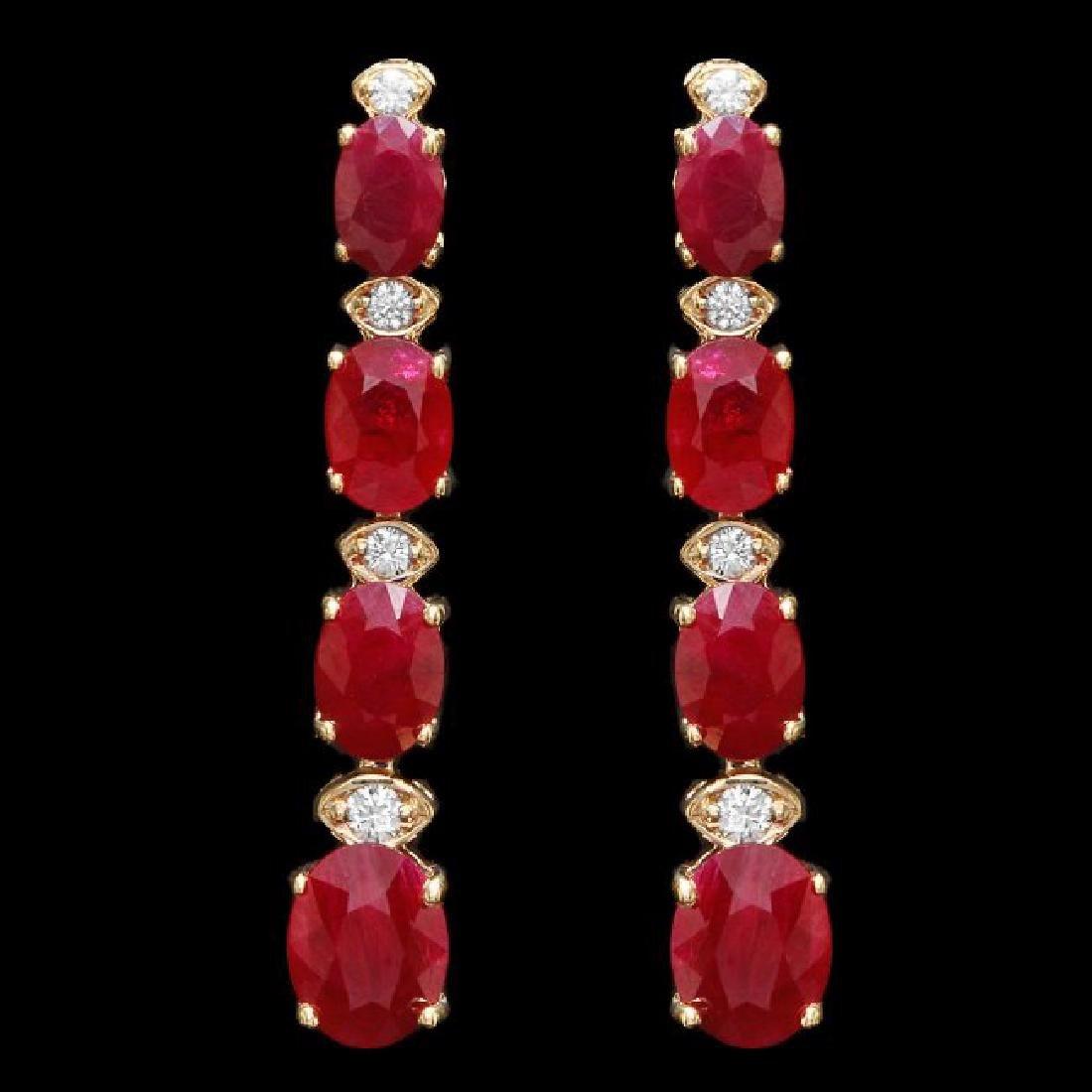 14k Gold 9.00ct Ruby 0.25ct Diamond Earrings