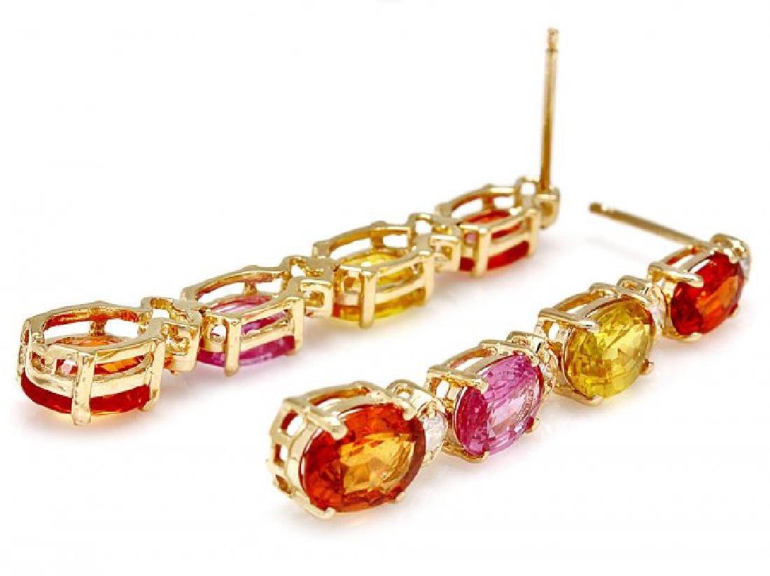 14k Gold 8ct Sapphire 0.30ct Diamond Earrings - 2