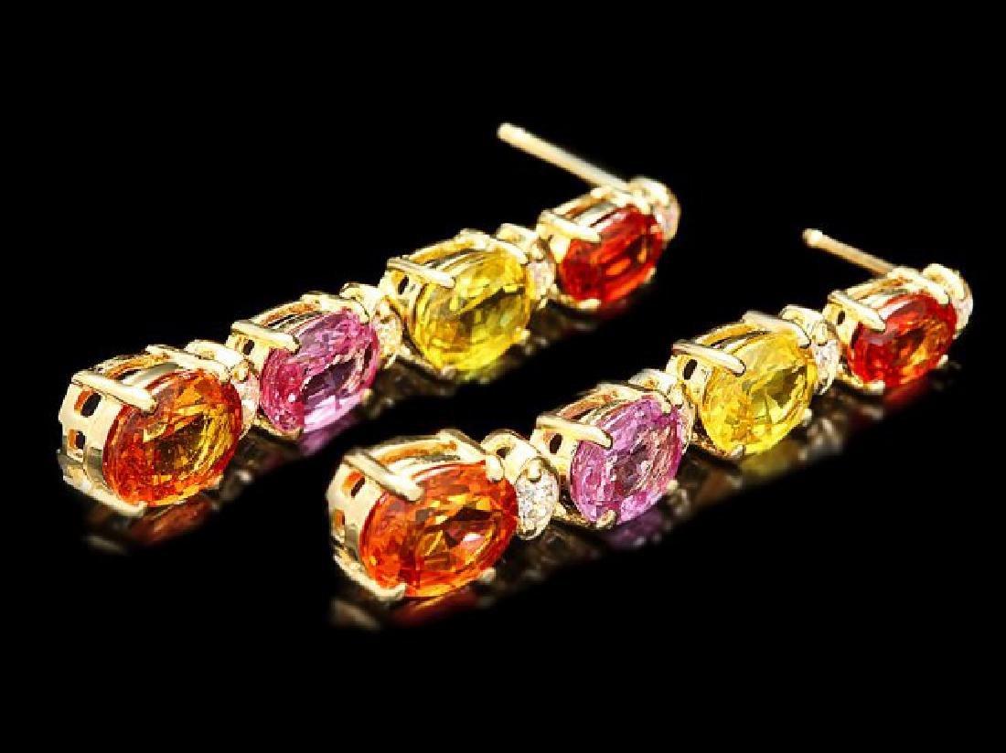 14k Gold 8ct Sapphire 0.30ct Diamond Earrings - 3
