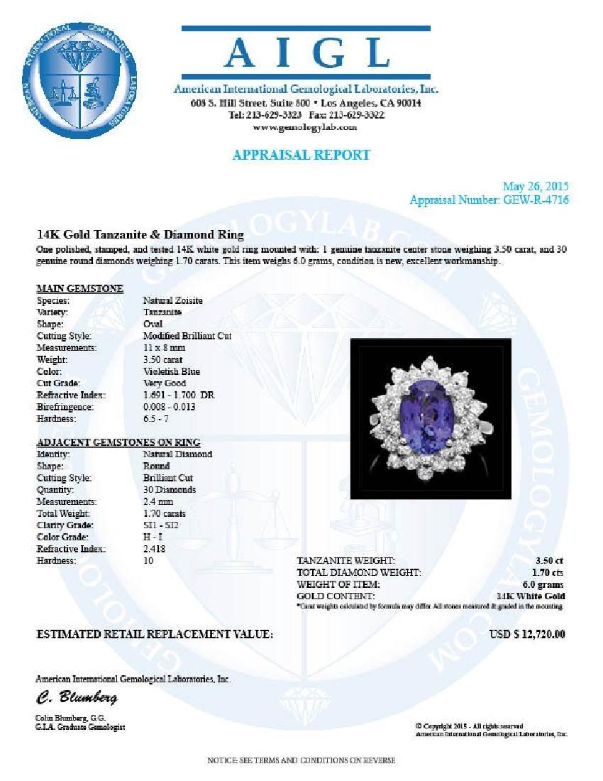 14k Gold 3.50ct Tanzanite 1.70ct Diamond Ring - 4