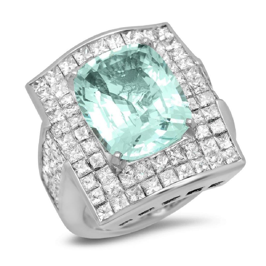 14K Gold 7.79ct Aquamarine 7.02cts Diamond Ring