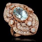 14K Gold 627ct Aquamarine  275ct Diamond Ring