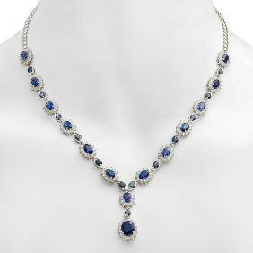 18K Gold 12.30ct Sapphire 5.25ct Diamond Necklace