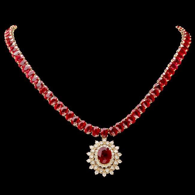 14k Yellow Gold 93ct Ruby 1.55ct Diamond Necklace
