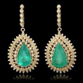 14K Gold 13.73ct Emerald 4.01ct Diamond Earrings