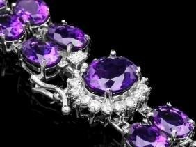 14k Gold 43ct Amethyst 0.60ct Diamond Bracelet
