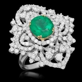 18K Gold 3.11 Emerald 3.22 Diamond Ring