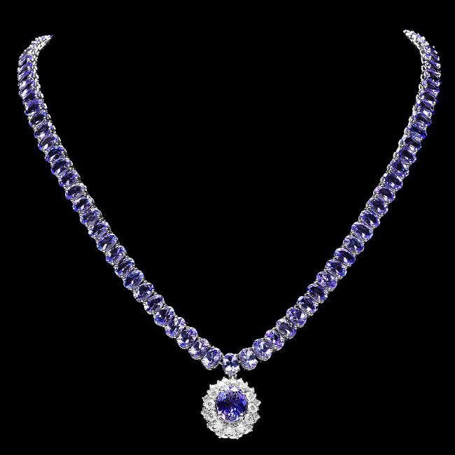 14k 45.25ct Tanzanite 1.35ct Diamond Necklace