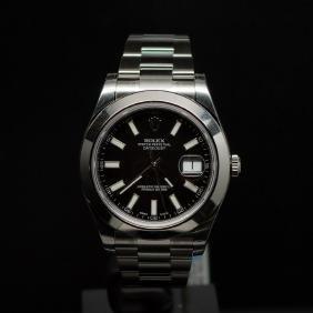 Rolex Stainless Steel Datejust II 41mm Black Dial Men's