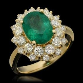 14K Gold 2.77ct Emerald & 1.37ct Diamond Ring