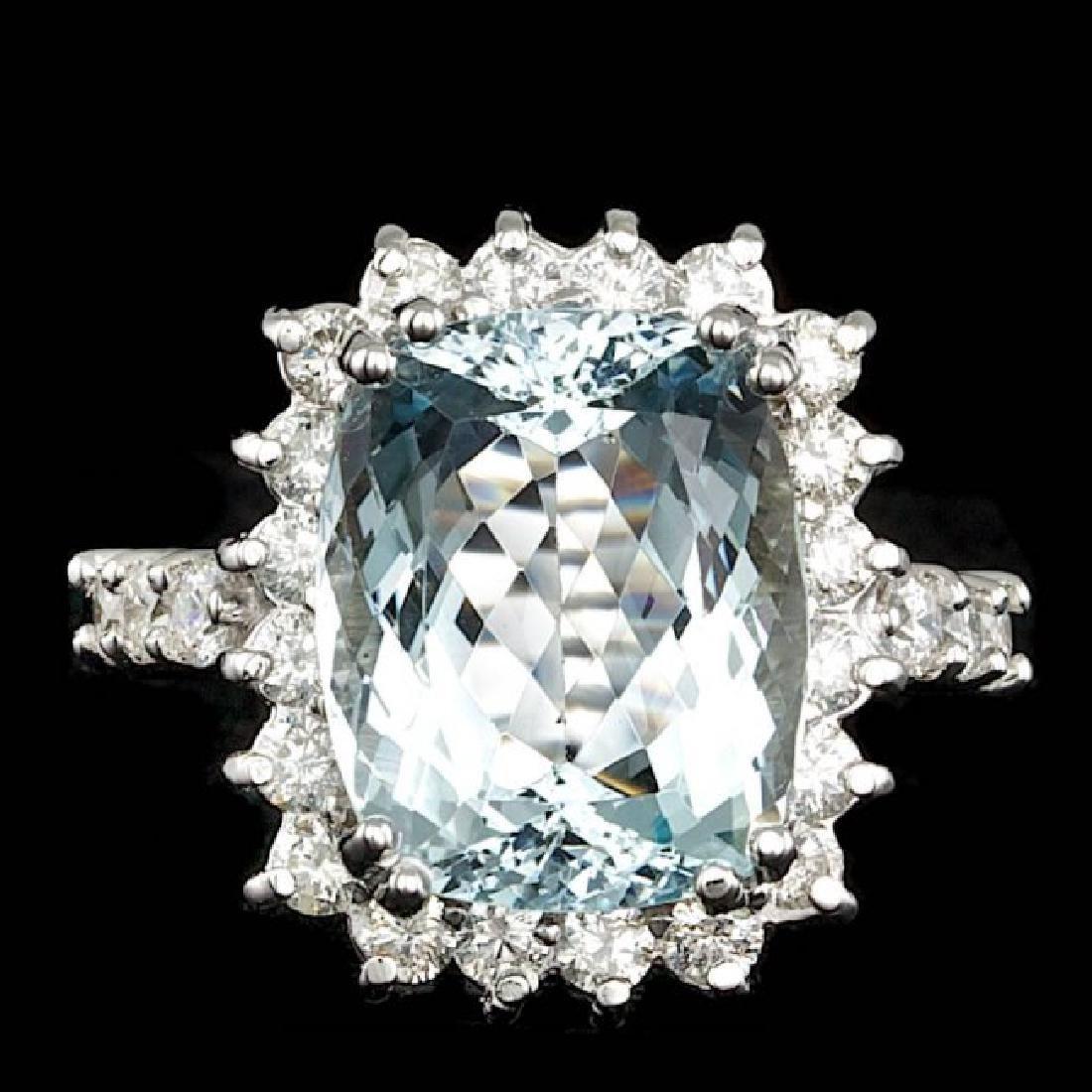 14k Gold 5.50ct Aquamarine 1.00ct Diamond Ring