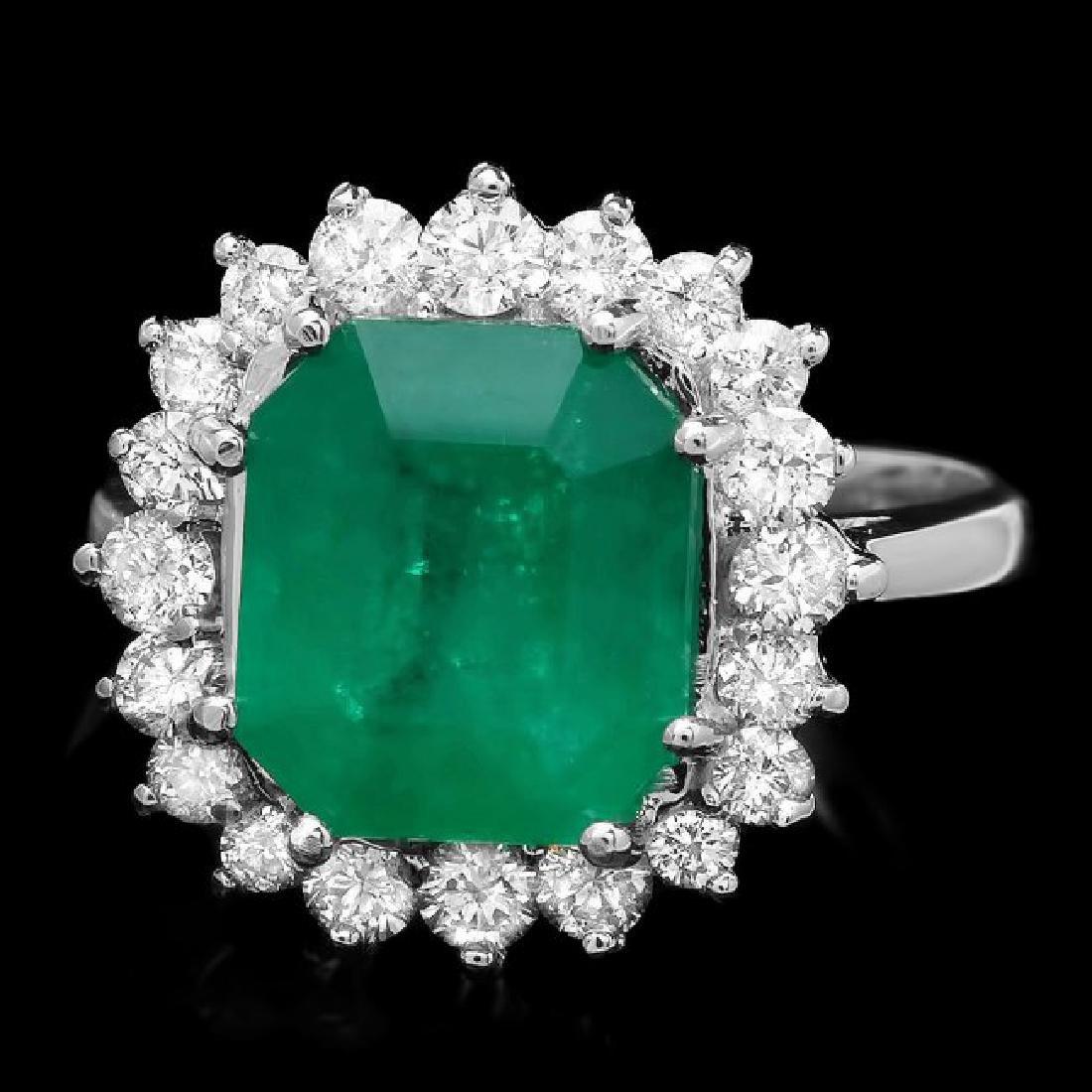 14k White Gold 3.70ct Emerald 0.90ct Diamond Ring