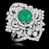 18K Gold 311 Emerald 322 Diamond Ring