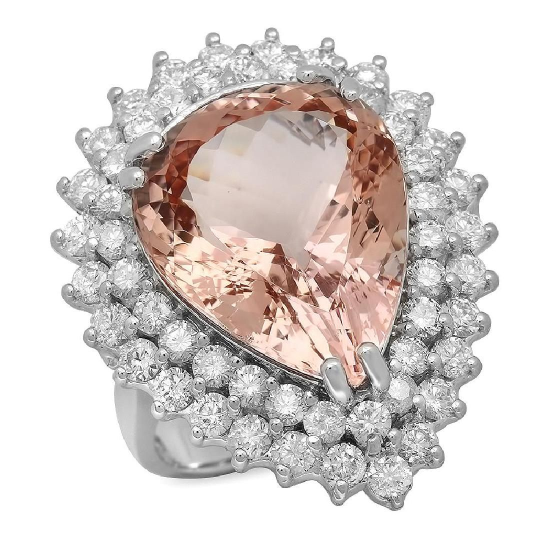 14K Gold 12.28ct Morganite 2.71ct Diamond Ring