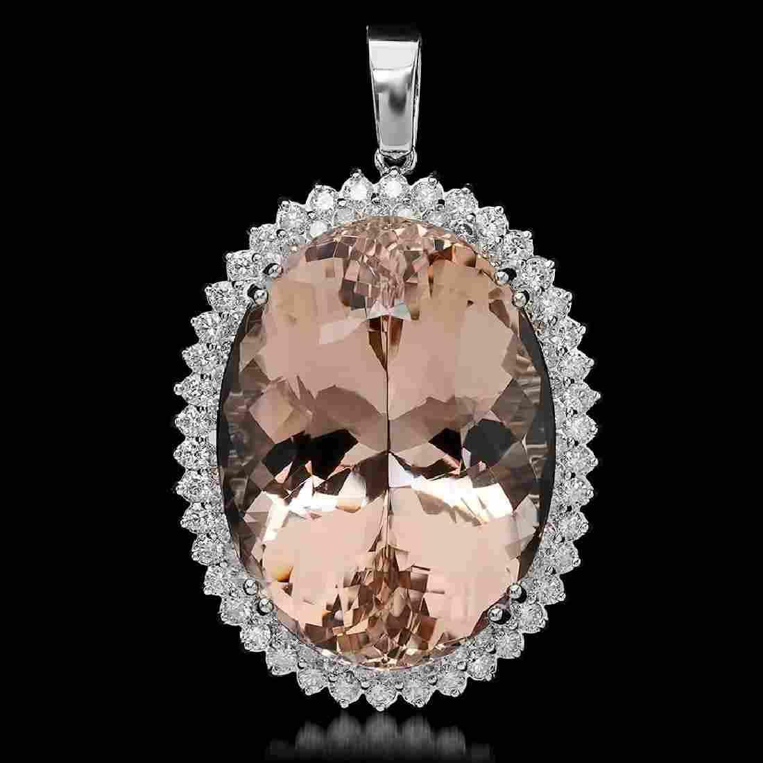 14K Gold 65.81ct Morganite 2.83ct Diamond Pendant
