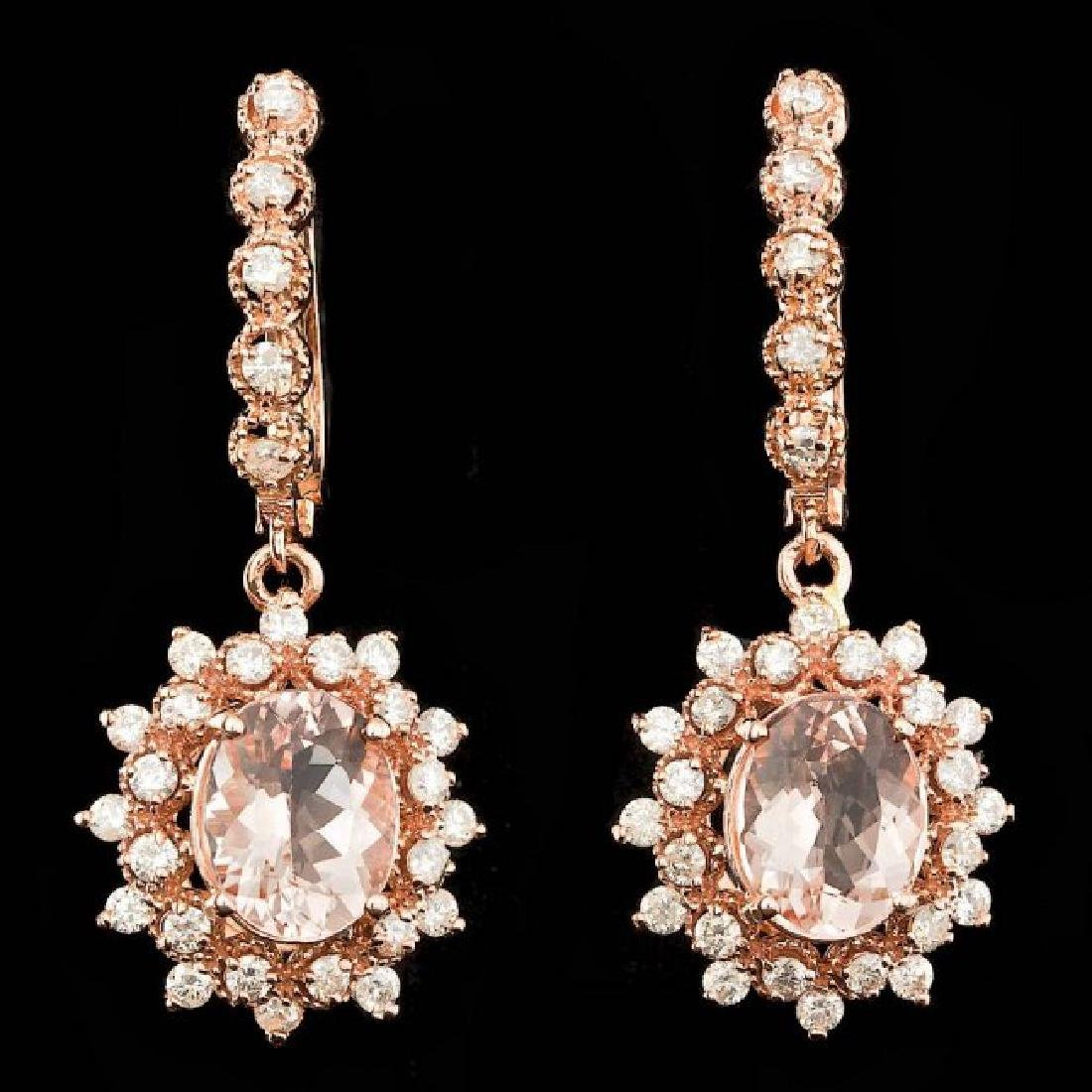14k Rose 4.00ct Morganite 1.60ct Diamond Earrings