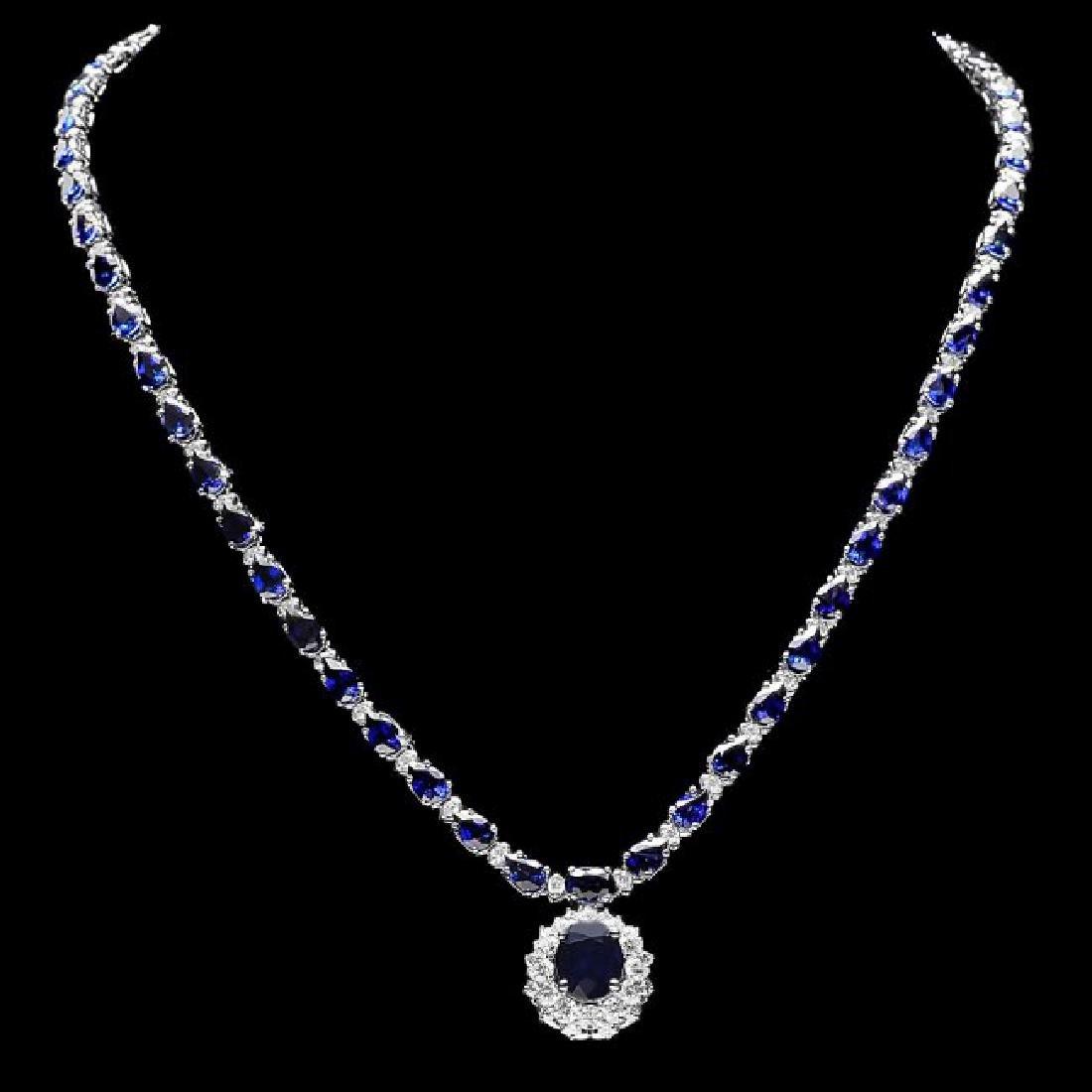 14k Gold 27ct Sapphire 3.35ct Diamond Necklace