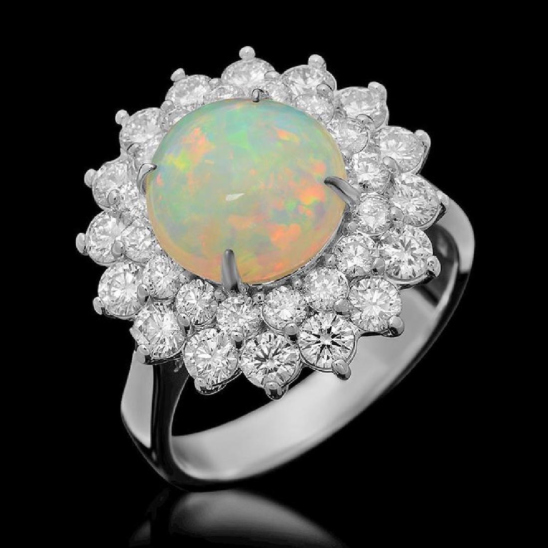 14k Gold 2.73ct Opal 1.95ct Diamond Ring