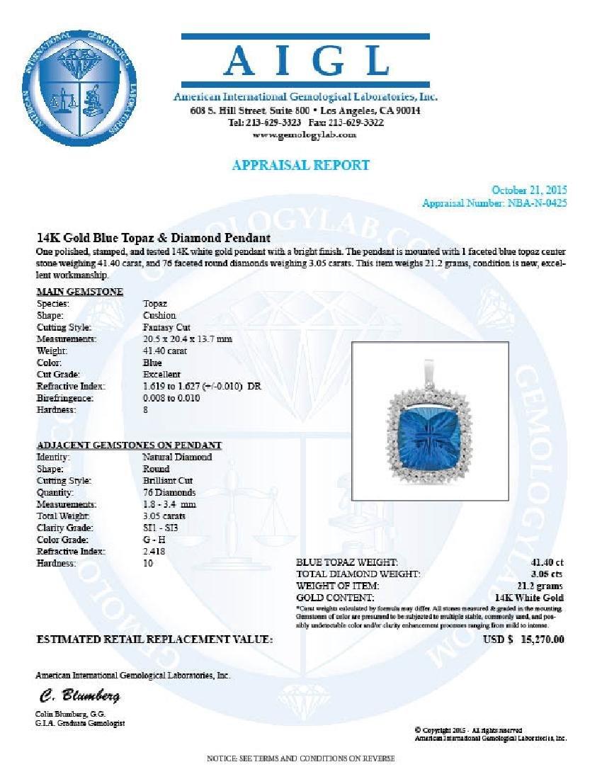 14K Gold 41.40ct Topaz 3.05ct Diamond Pendant - 4
