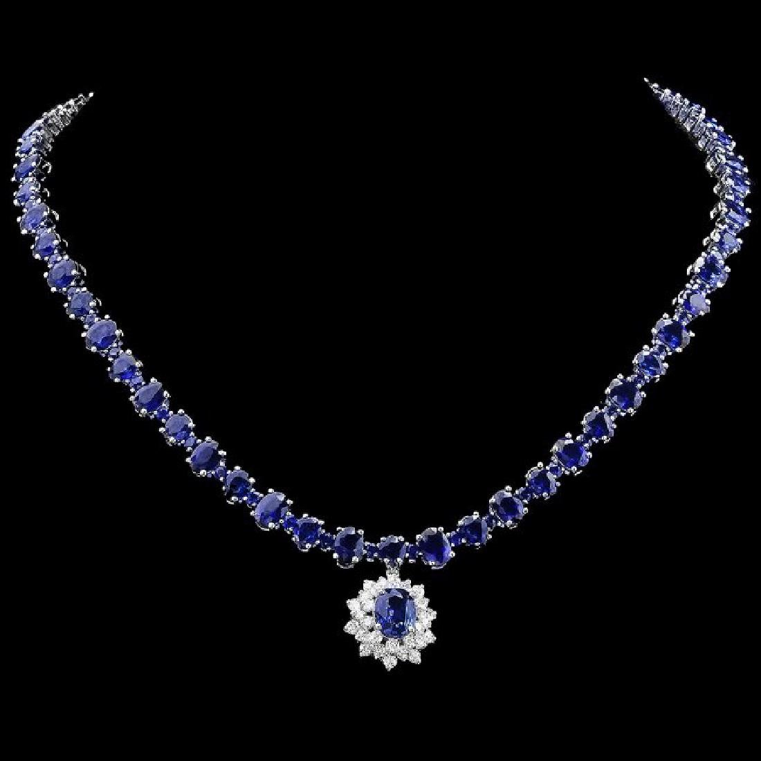 14k Gold 49.5ct Sapphire 1.70ct Diamond Necklace