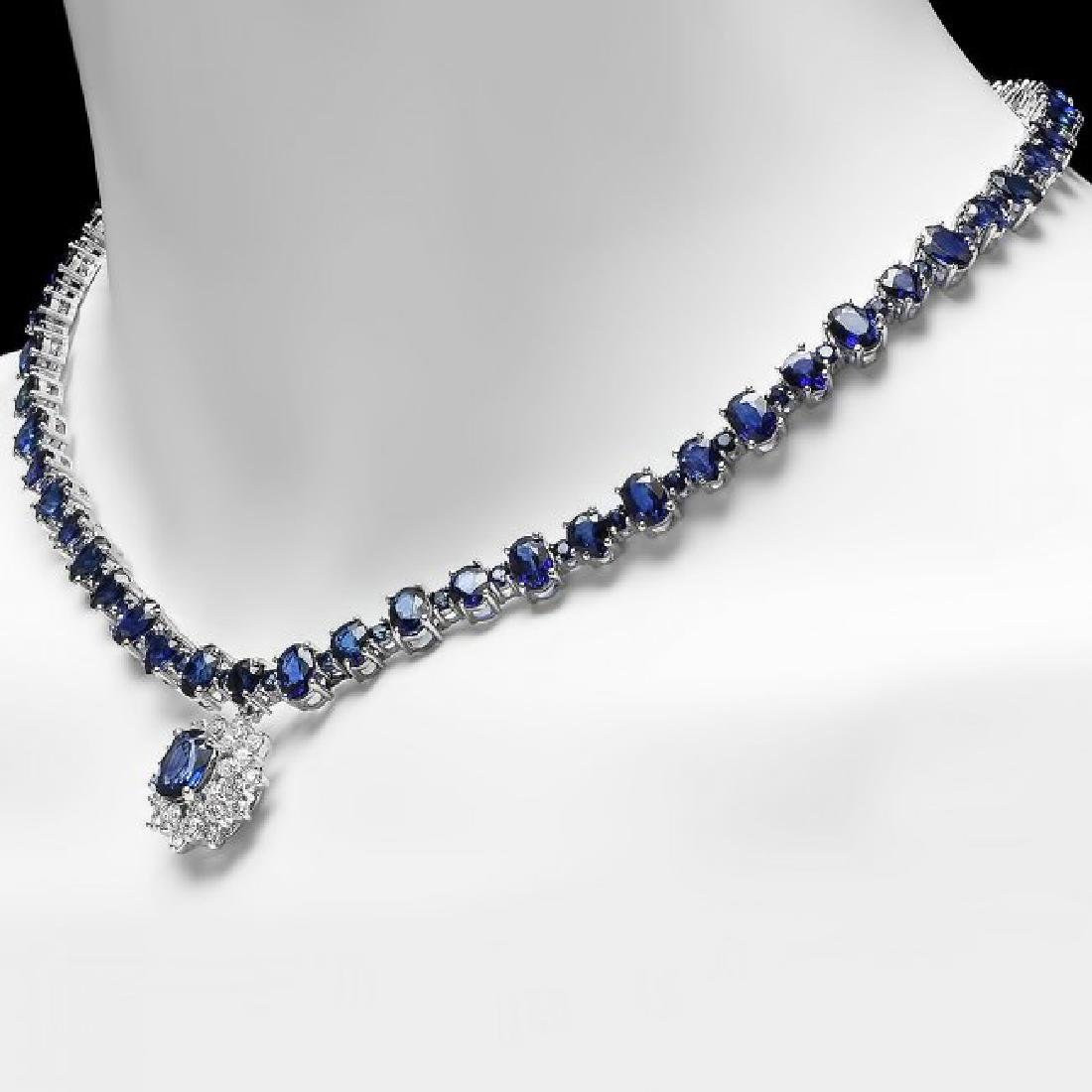 14k Gold 49.5ct Sapphire 1.70ct Diamond Necklace - 4