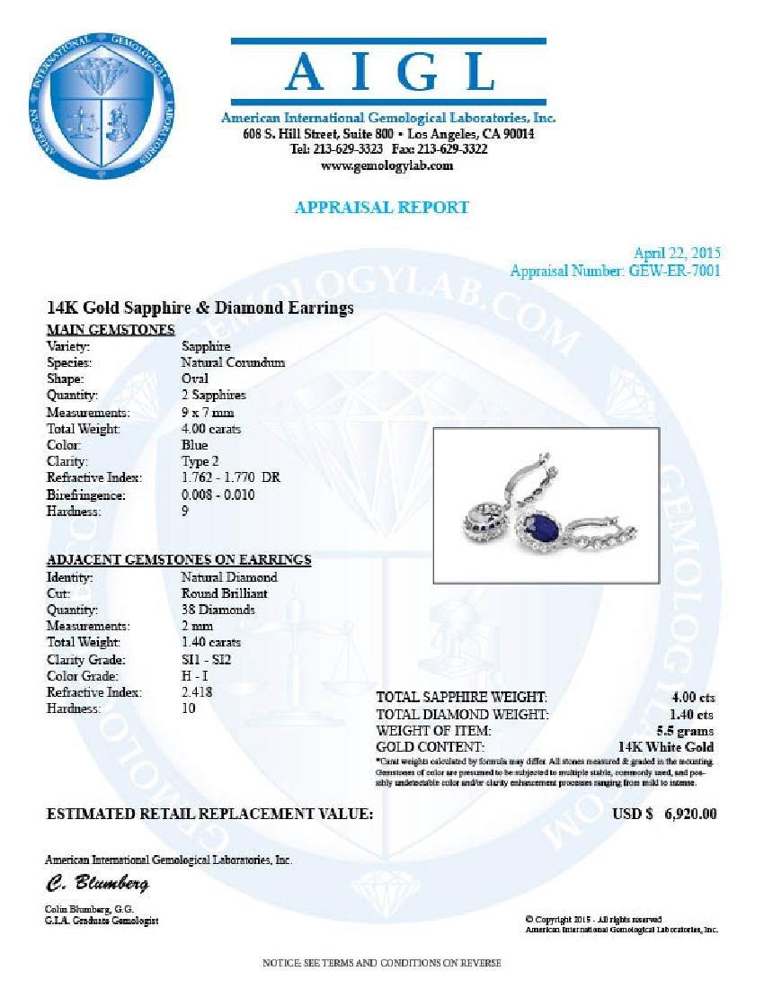 14k Gold 4ct Sapphire 1.40ct Diamond Earrings - 5