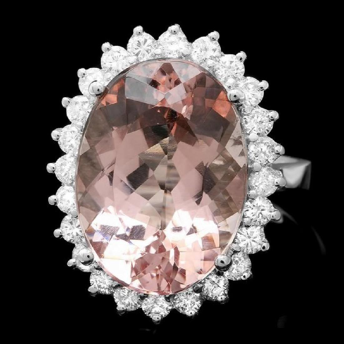 14k Gold 11.00ct Morganite 1.10ct Diamond Ring