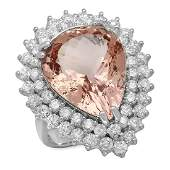 14K Gold 1228ct Morganite 271ct Diamond Ring