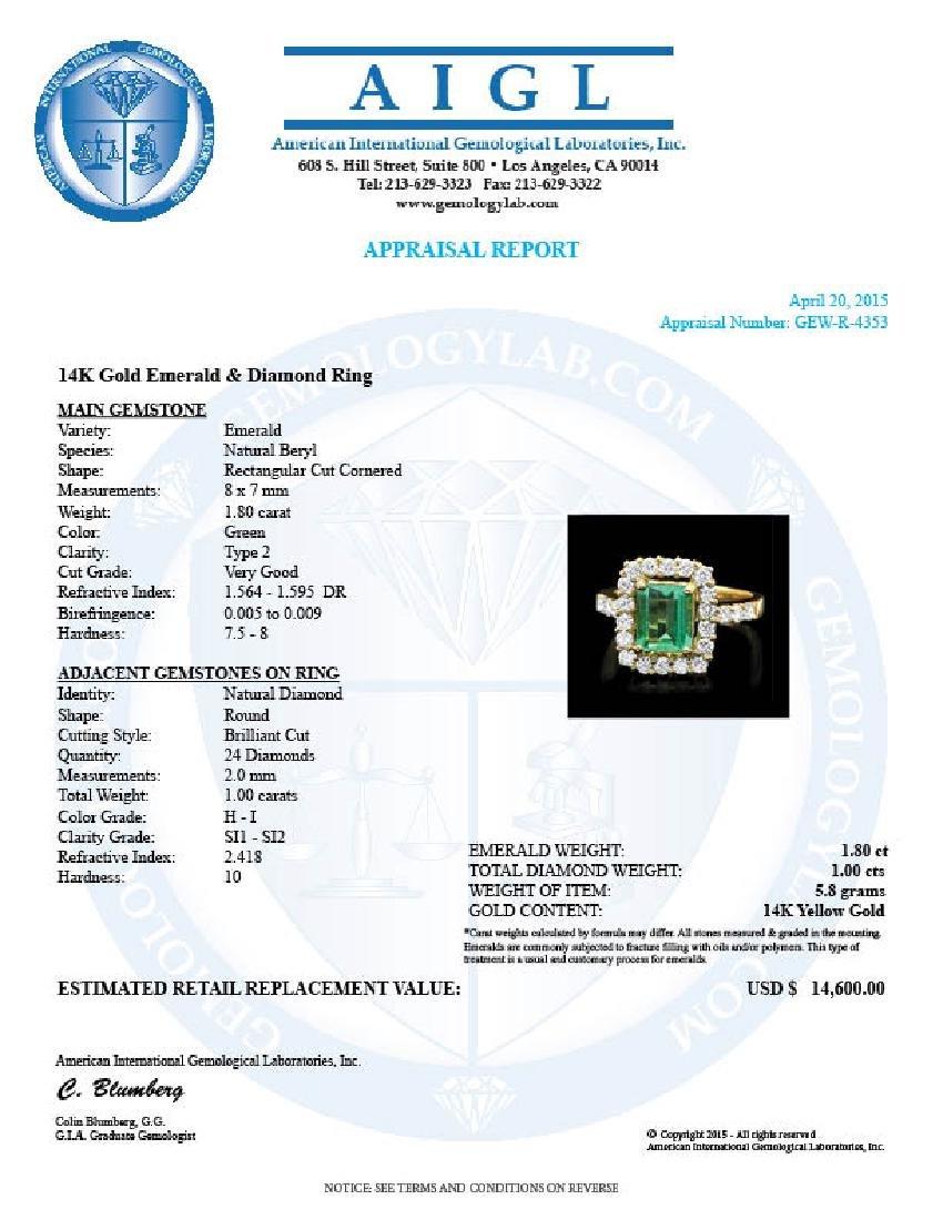 14k Gold 1.80ct Emerald 1.00ct Diamond Ring - 4