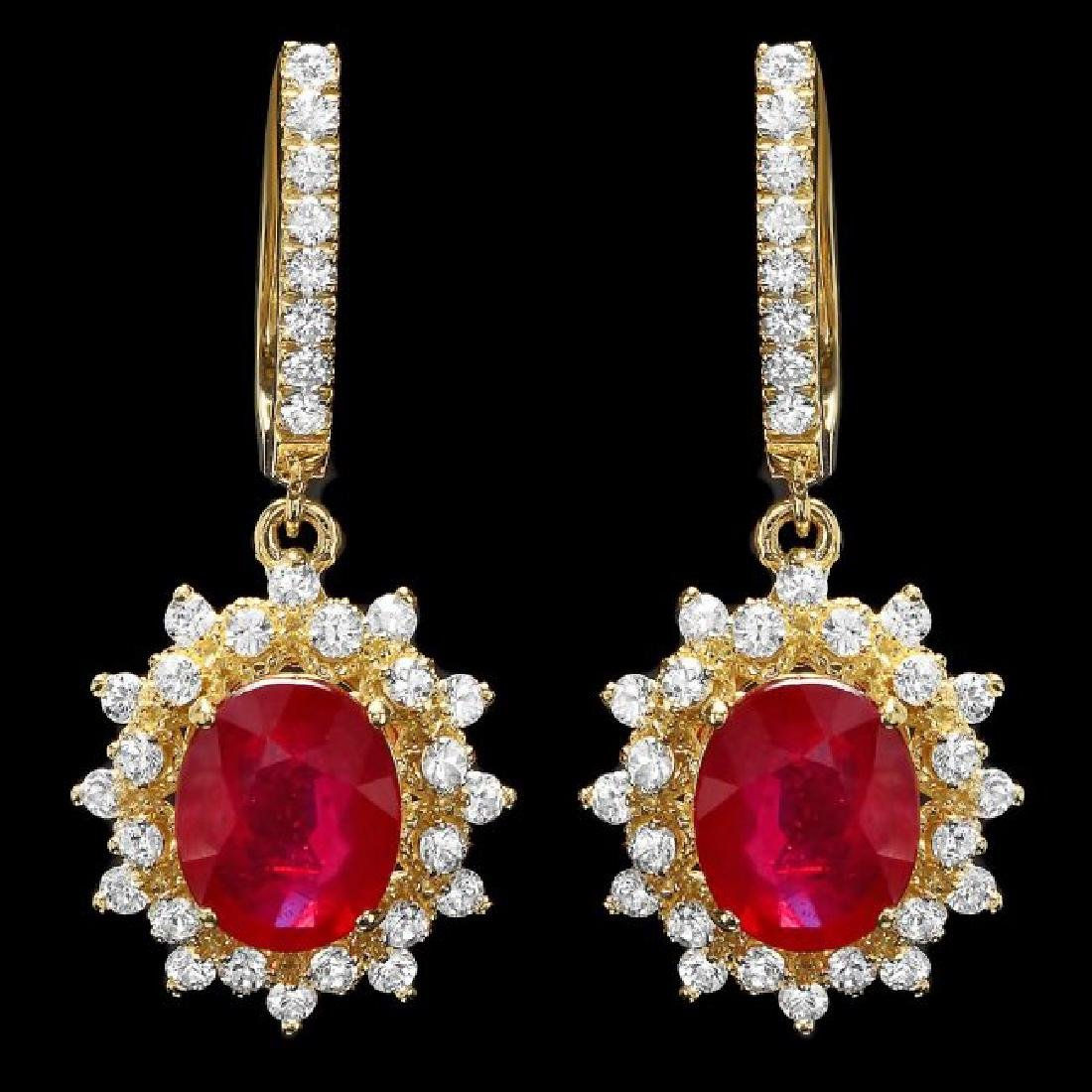 14k Gold 6.5ct Ruby 2.00ct Diamond Earrings