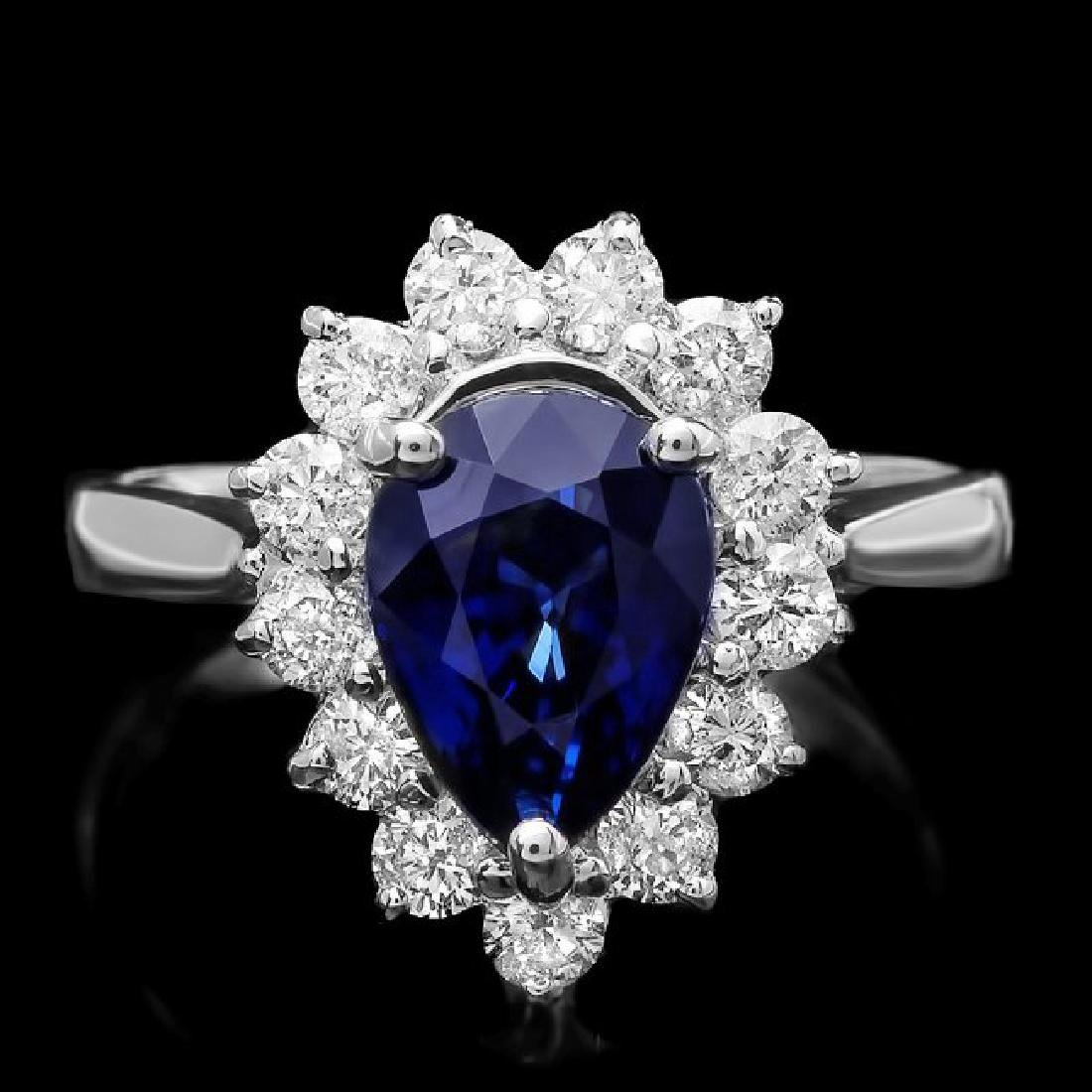 14k Gold 2.50ct Sapphire 0.80ct Diamond Ring