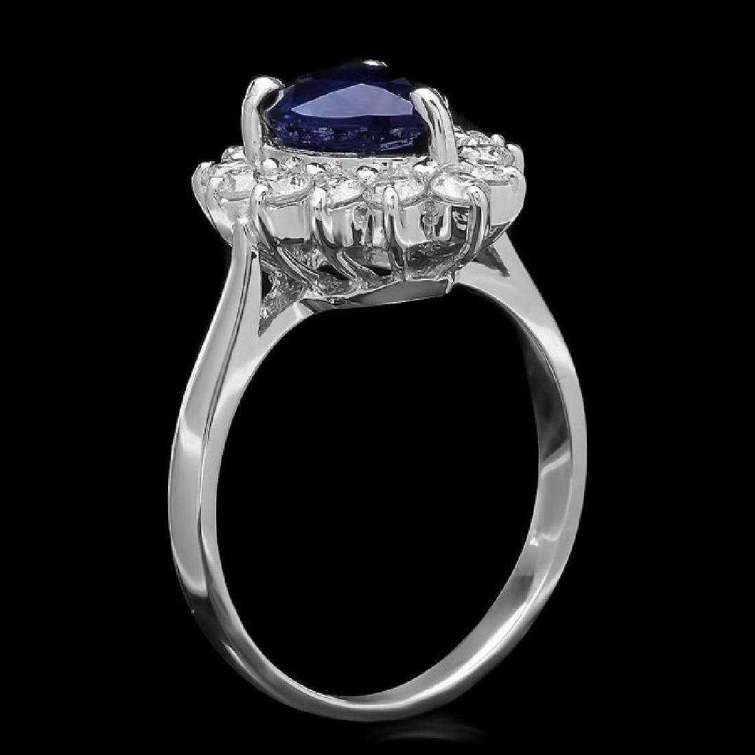 14k Gold 2.50ct Sapphire 0.80ct Diamond Ring - 2