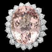 14k Gold 3350ct Morganite 315ct Diamond Ring
