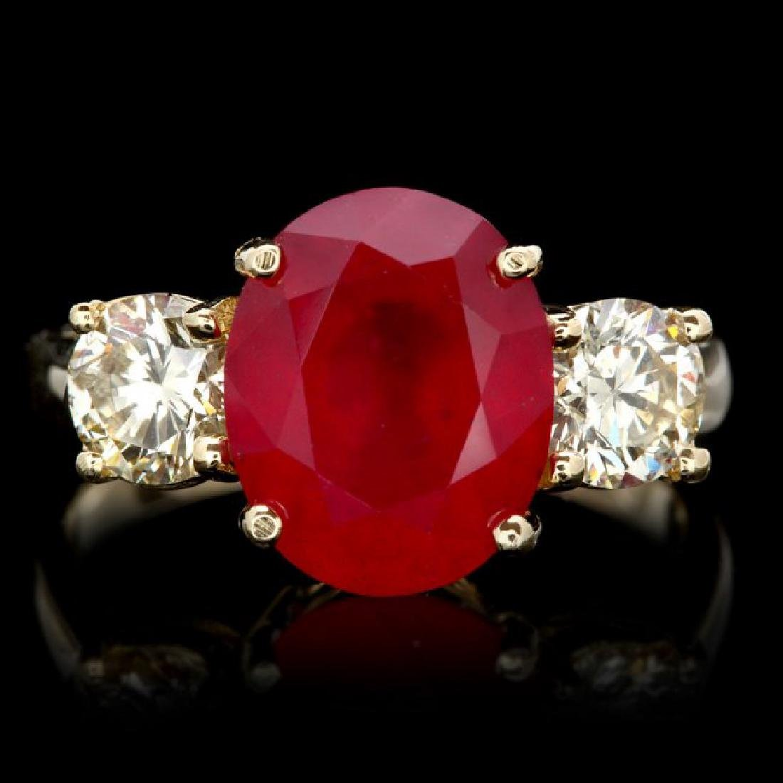 14k Yellow Gold 5.00ct Ruby 1.10ct Diamond Ring