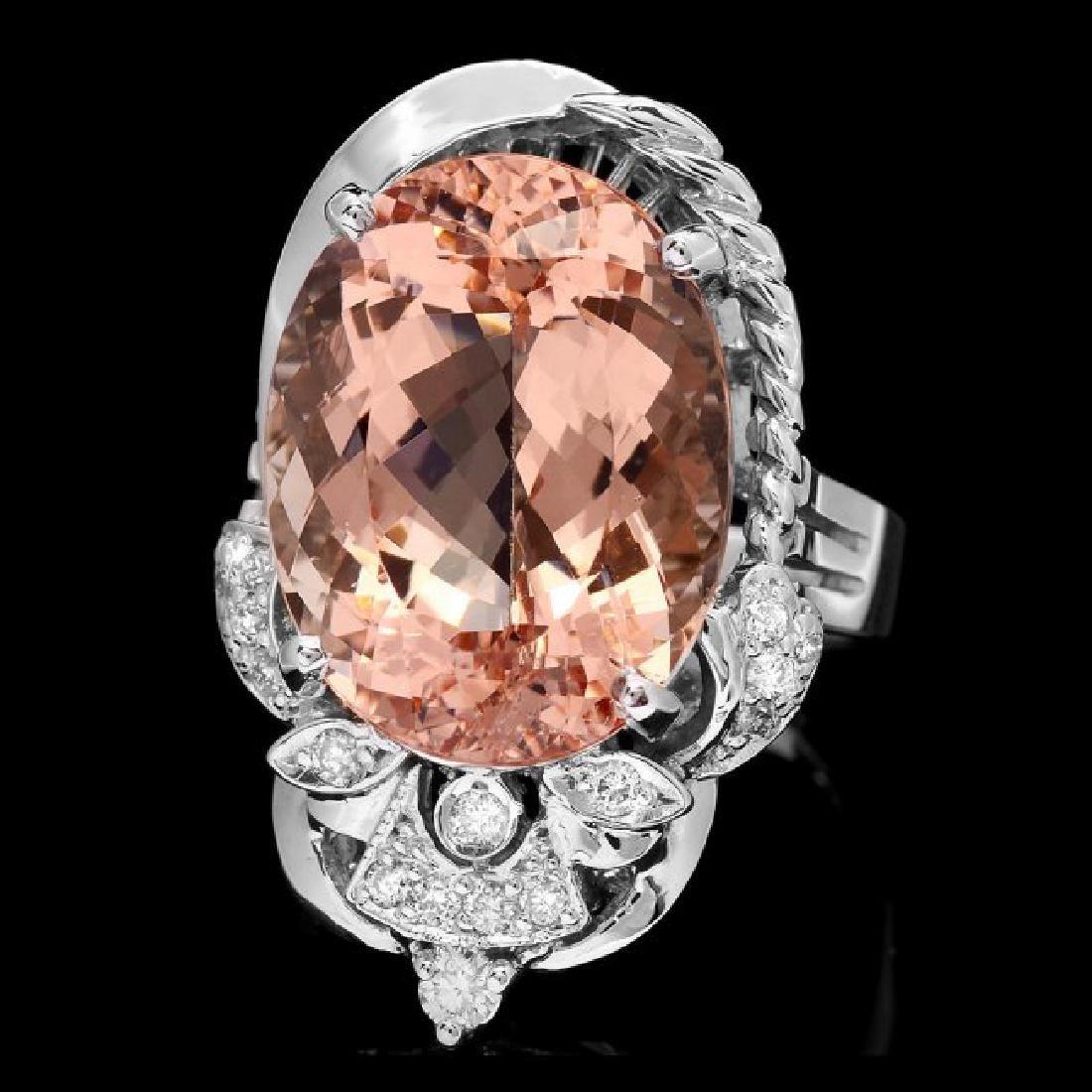 14k Gold 13.00ct Morganite 0.30ct Diamond Ring