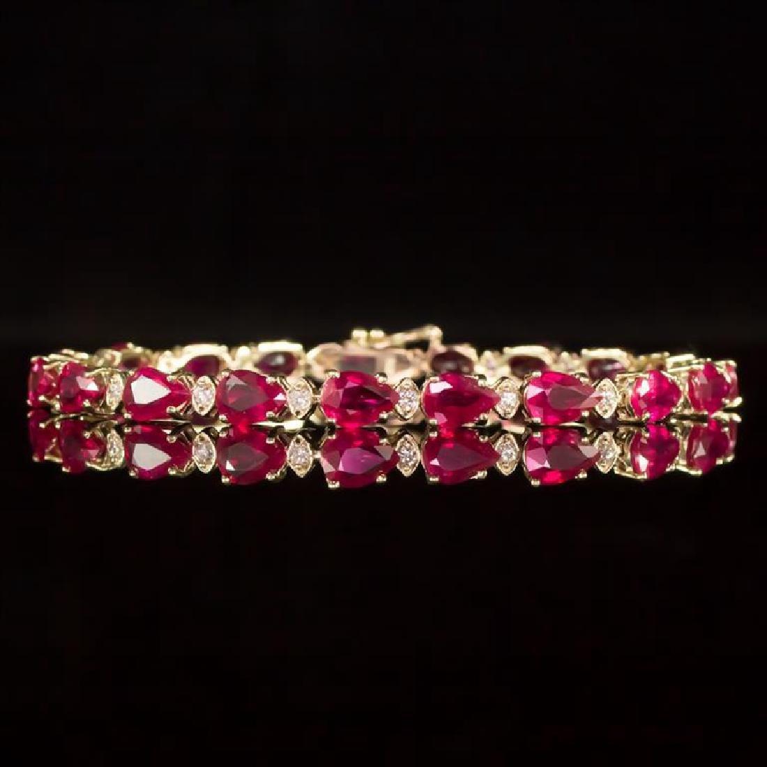 14K Gold 16.68ct Ruby 0.63ct Diamond Bracelet