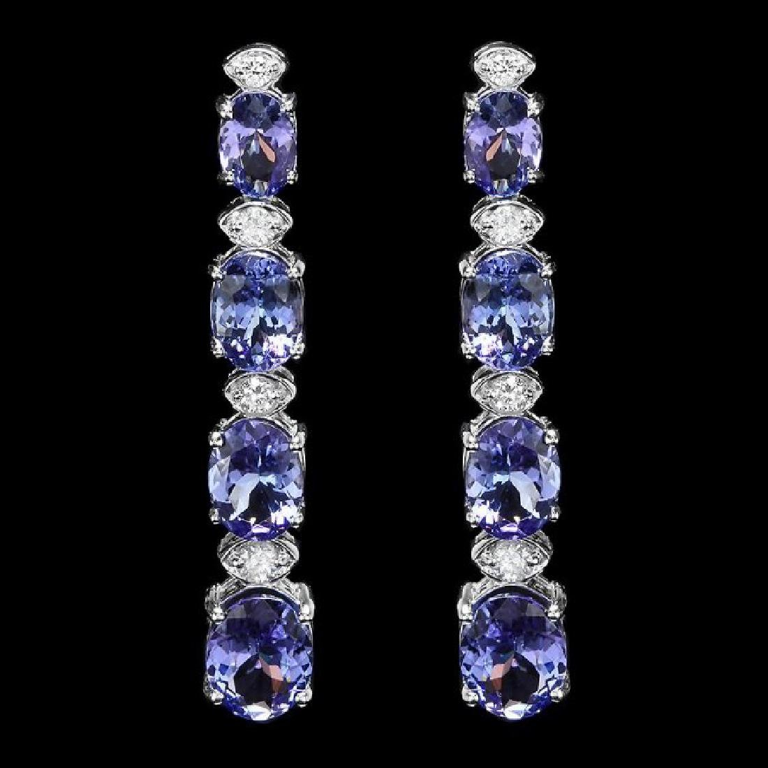 14k Gold 9.50ct Tanzanite 0.50ct Diamond Earrings - 2