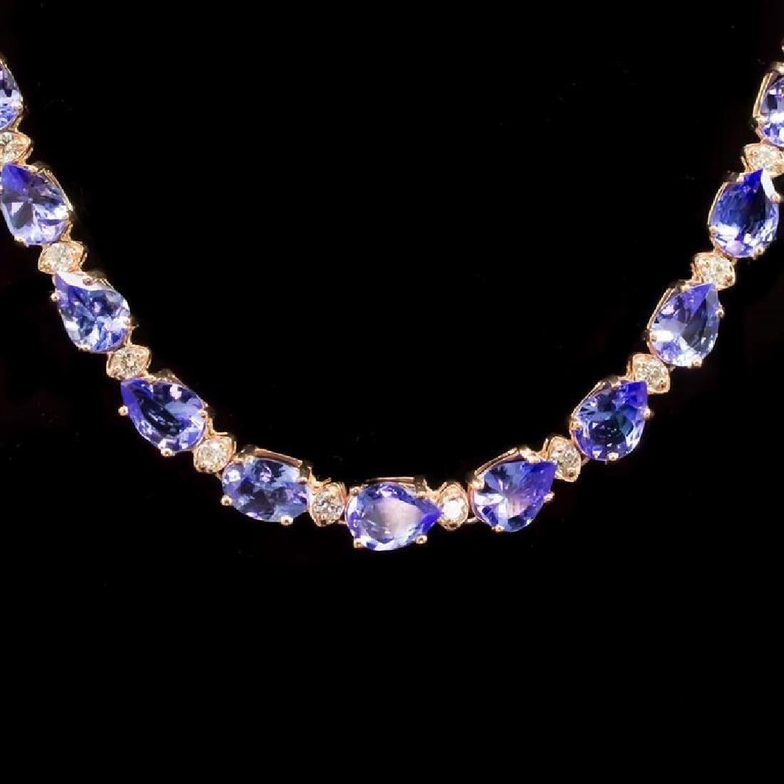 14k Gold 26.35ct Tanzanite 1.82ct Diamond Necklace