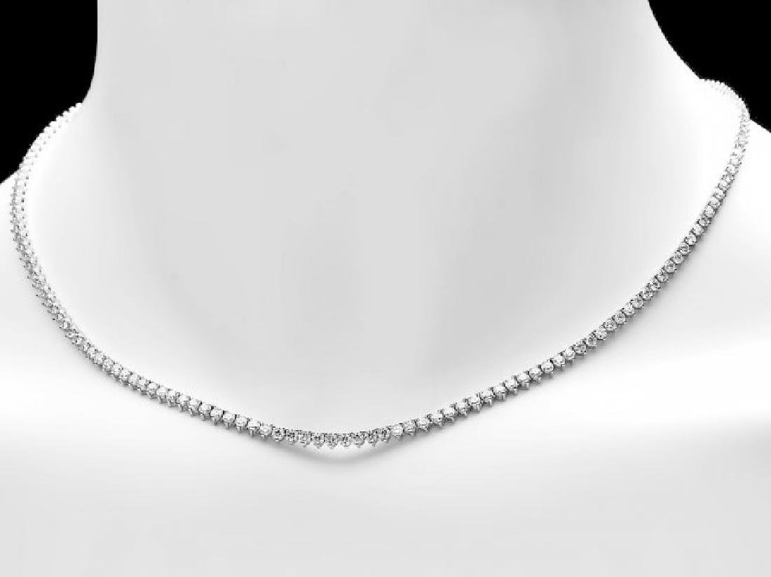 18k White Gold 7.60ct Diamond Necklace - 5